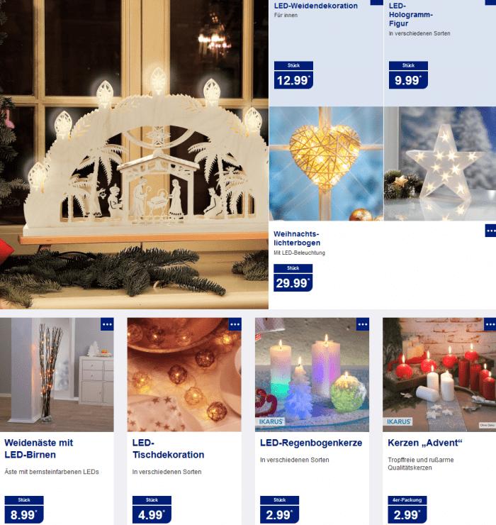 weihnachtsdeko und beleuchtung bei aldi nord und aldi s d. Black Bedroom Furniture Sets. Home Design Ideas